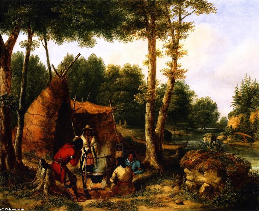 Order Reproductions | Indian Encampment by a River by Cornelius David Krieghoff | Most-Famous-Paintings.com