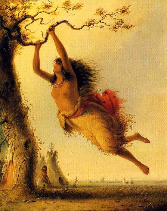 Indian Girl Swinging by Alfred Jacob Miller | Art
