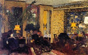 Jean Edouard Vuillard - Interior, The Salon with Three Lamps, Rue Saint-Florentin
