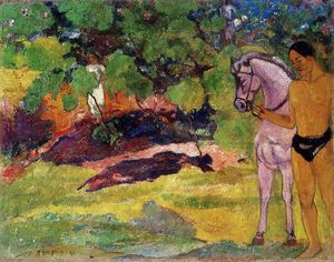 Paul Gauguin - In the Vanilla Grove, Man and Horse (also known as The Rendezvous)