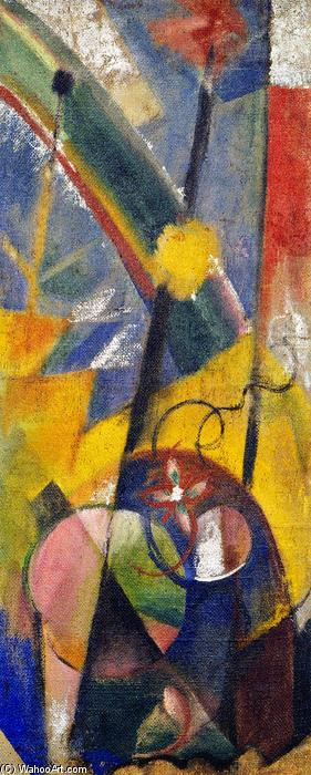 famous painting Landscape with Rainbow (Right-hand part of the Three-part fire screen) of Franz Marc