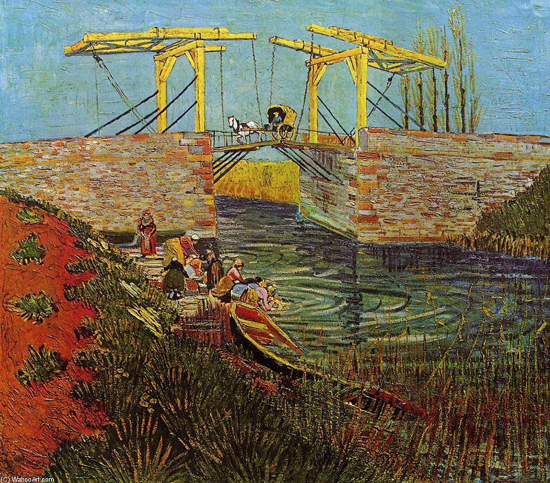 Order Paintings Reproductions | The Langlois Bridge at Arles by Vincent Van Gogh | Most-Famous-Paintings.com