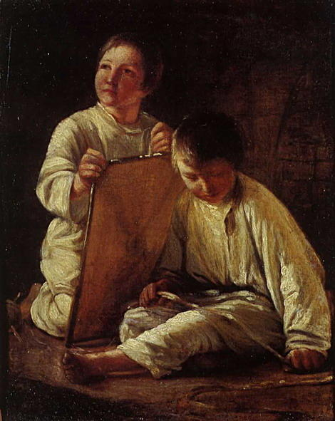 famous painting Two Peasant Boy with a kite of Alexey Venetsianov
