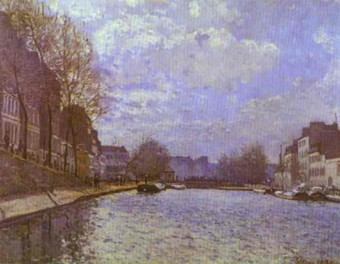 Order Reproductions | The Saint Martin Canal in Paris by Alfred Sisley | Most-Famous-Paintings.com