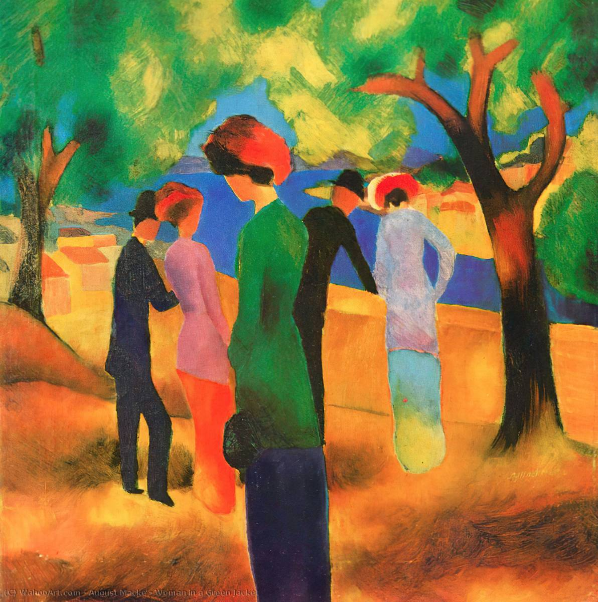 famous painting Woman in a Green Jacket of August Macke