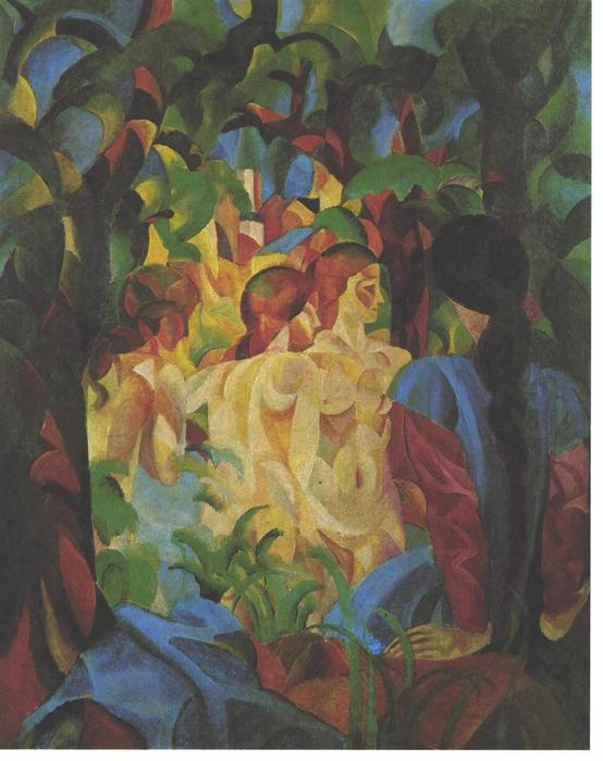 famous painting Bathing girls with town in the backgraund of August Macke