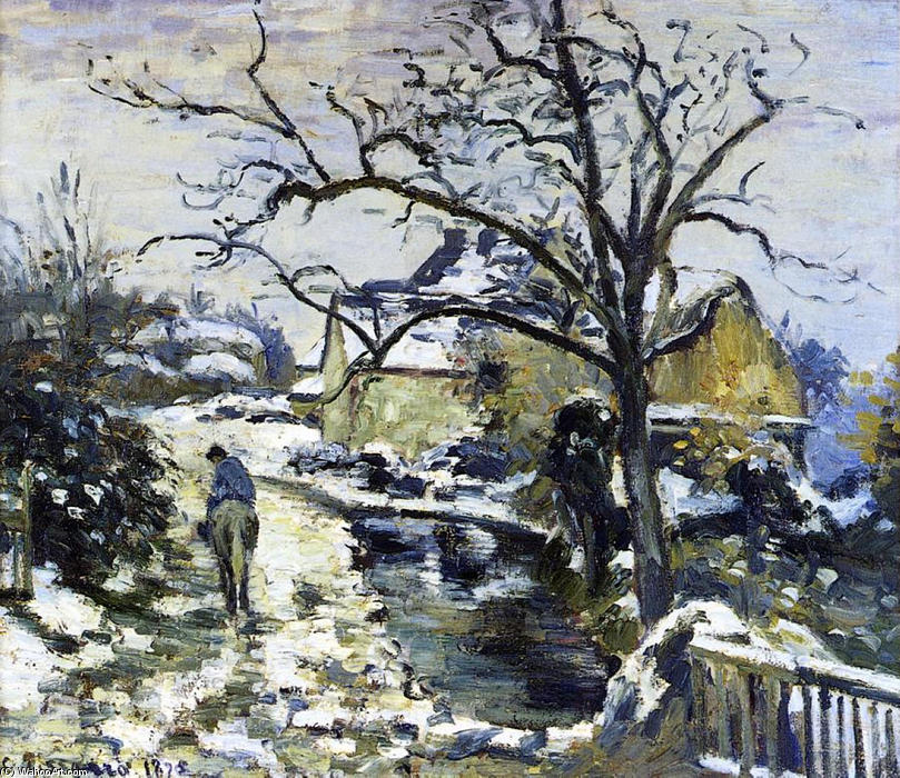 famous painting Winter at Montfoucault 2 of Camille Pissarro