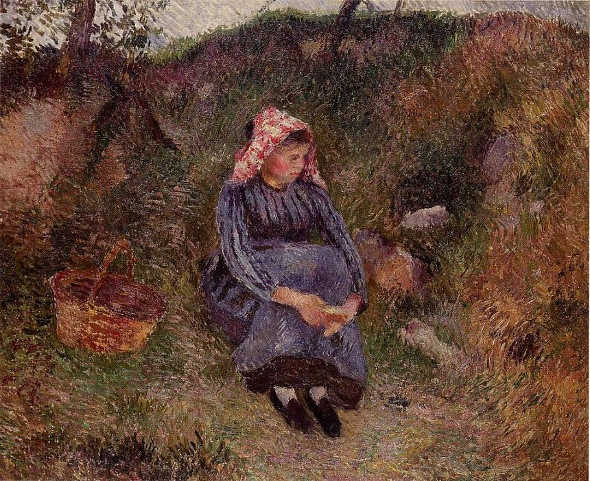 famous painting Seated Peasant Girl of Camille Pissarro