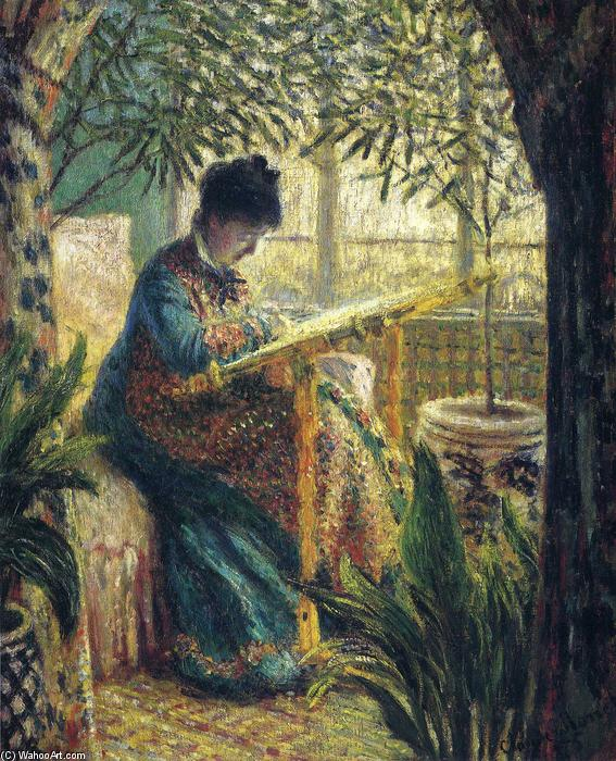 Order Paintings Reproductions | Madame Monet Embroidering by Claude Monet | Most-Famous-Paintings.com