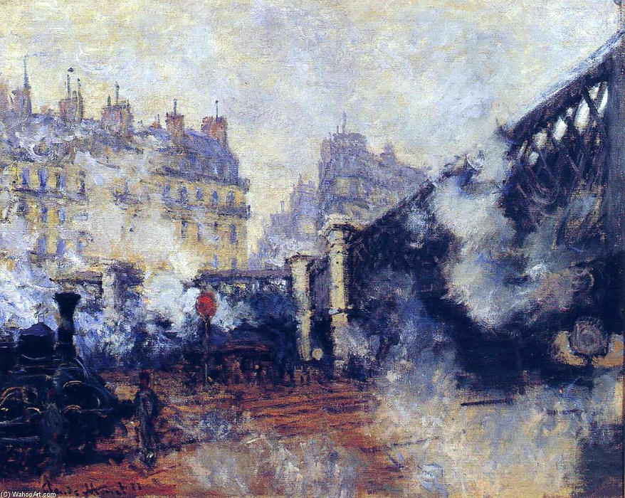 Order Art Reproductions : The Pont de l'Europe, Gare Saint-Lazare by Claude Monet | Most-Famous-Paintings.com