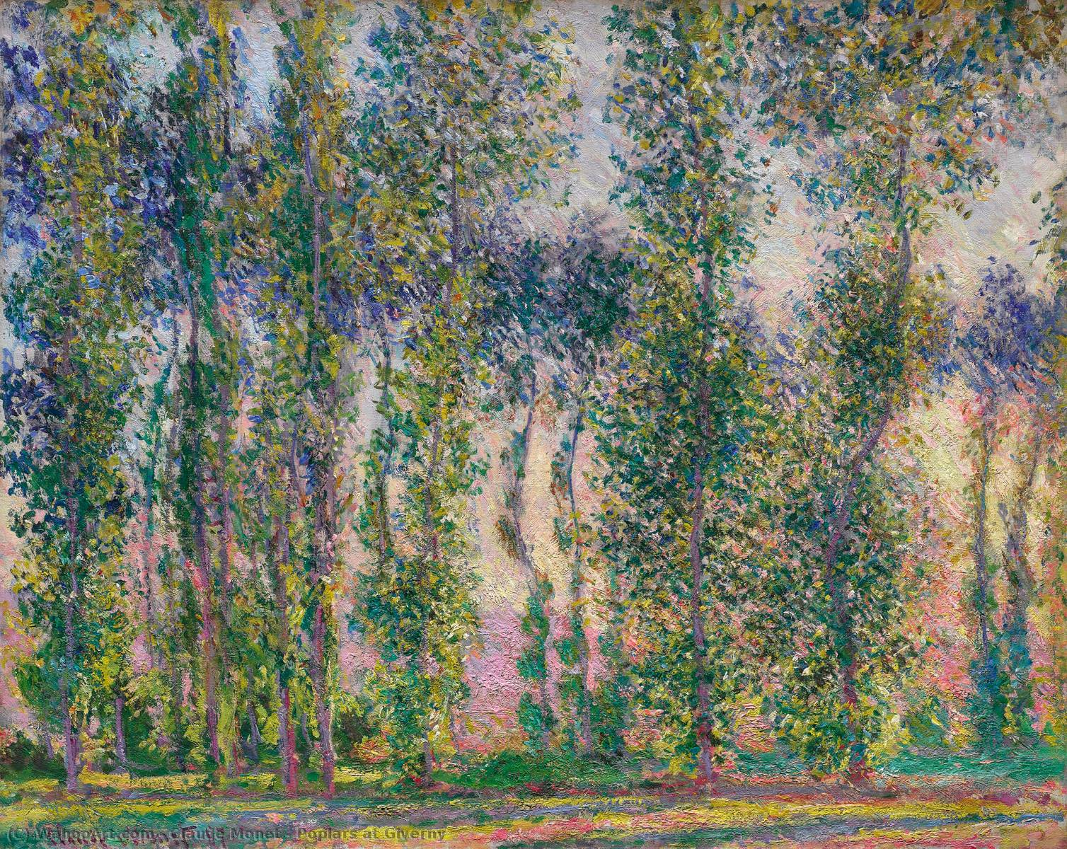 famous painting Poplars at Giverny of Claude Monet