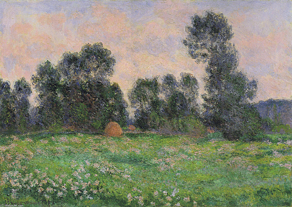 famous painting Meadow in Giverny of Claude Monet