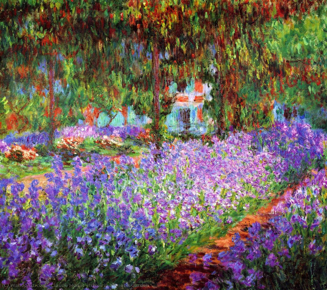 Order Oil Painting : Irises in Monet's Garden by Claude Monet | Most-Famous-Paintings.com
