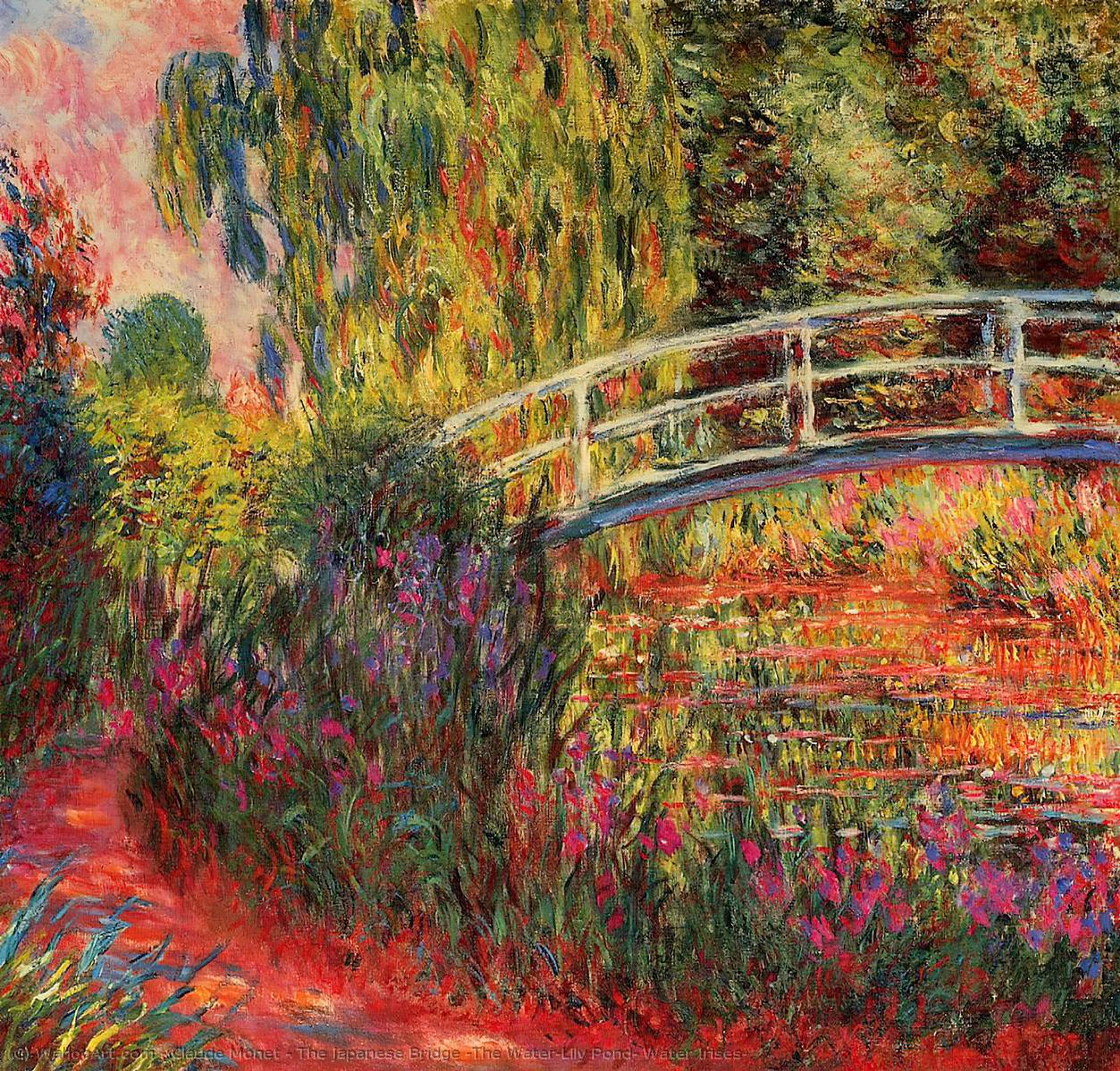 famous painting The Japanese Bridge (The Water-Lily Pond, Water Irises) of Claude Monet