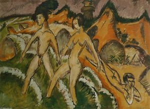 Ernst Ludwig Kirchner - Female Nudes Striding into the Sea