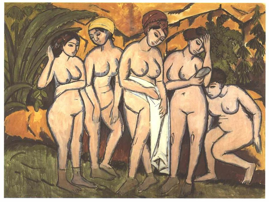 Buy Museum Art Reproductions | Five Bathing Women at a Lake by Ernst Ludwig Kirchner | Most-Famous-Paintings.com