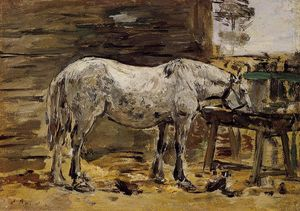 Eugène Louis Boudin - A Horse Drinking