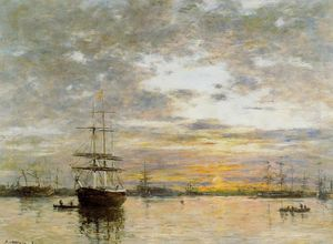 Eugène Louis Boudin - The Port of Le Havre at Sunset