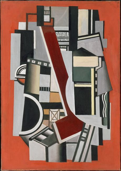 famous painting Mechanical Elements on red background of Fernand Leger