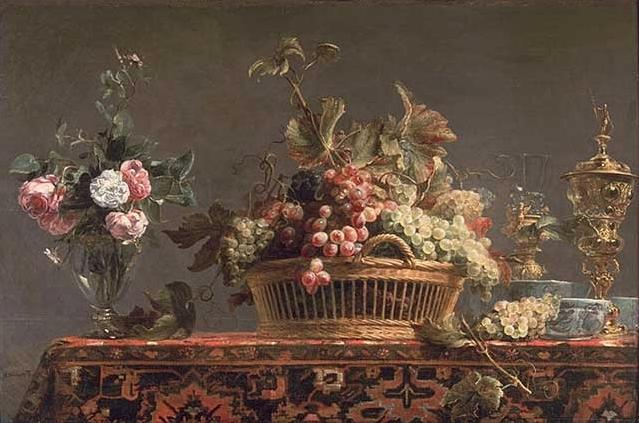 famous painting Grapes in a basket and roses in a vase of Frans Snyders