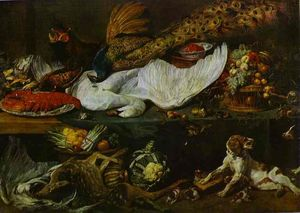 Frans Snyders - Still-Life with a Dog and Her Puppies