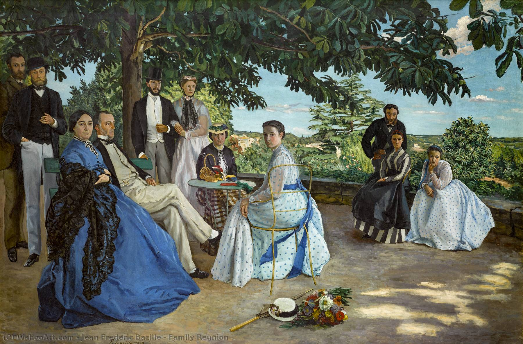 Buy Museum Art Reproductions | Family Reunion by Jean Frederic Bazille | Most-Famous-Paintings.com