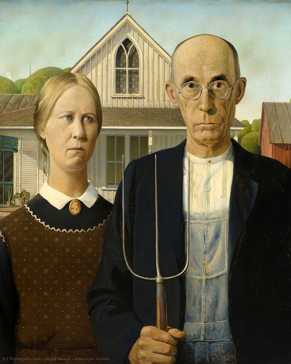 Buy Museum Art Reproductions | American Gothic by Grant Wood | Most-Famous-Paintings.com
