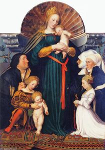 Hans Holbein The Younger - Madonna of the Burgermeister Meyer