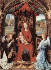 Hans Memling - Madonna and Child Enthroned with Two Angels