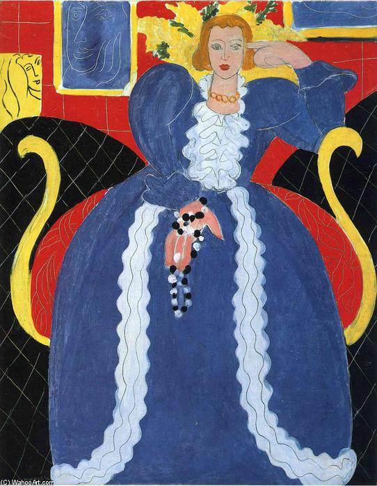 famous painting Woman in Blue, or The Large Blue Robe and Mimosas of Henri Matisse