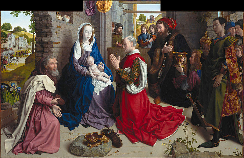 famous painting The Adoration of the Kings (Monforte Altar) of Hugo Van Der Goes