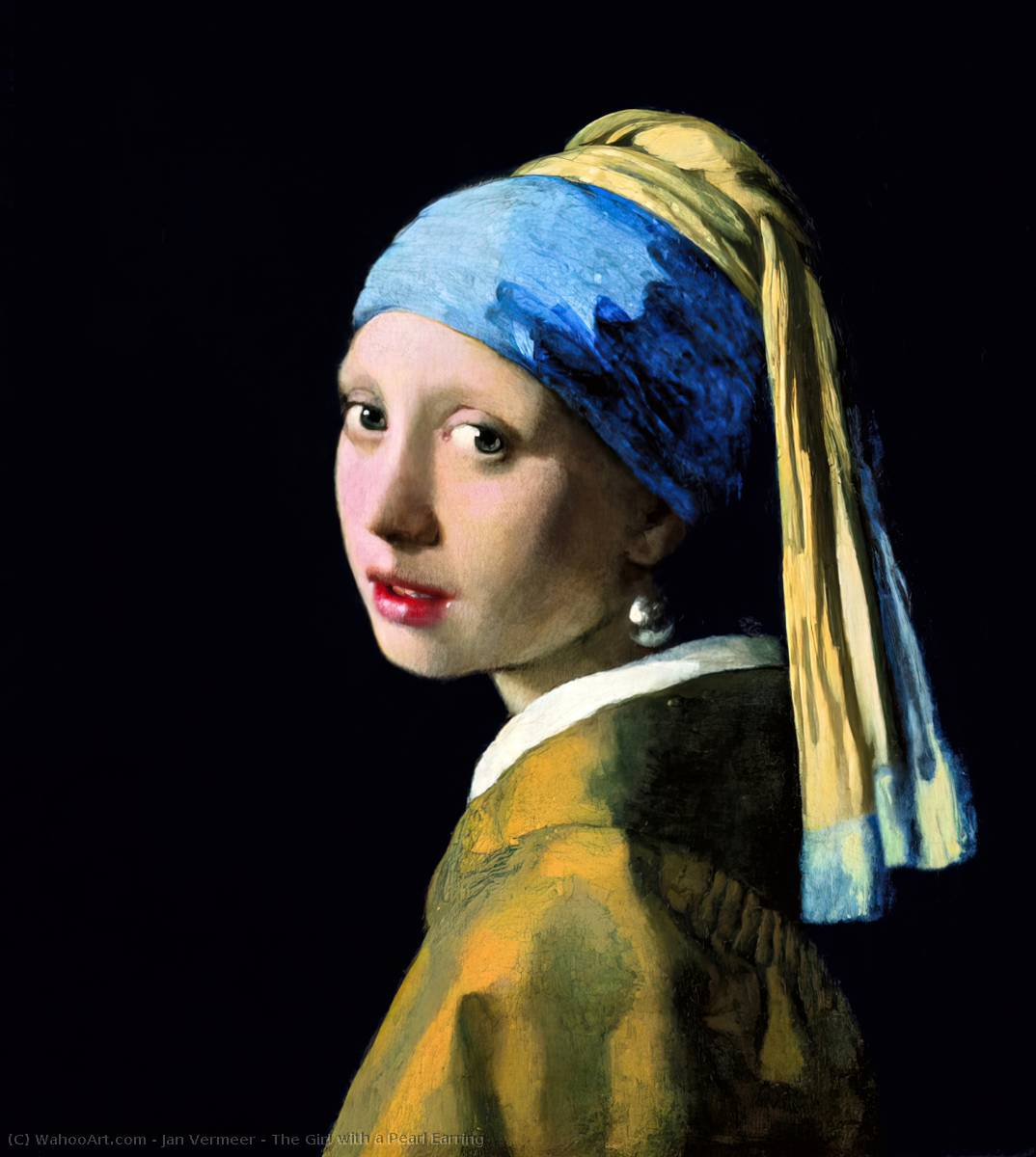 Buy Museum Art Reproductions | The Girl with a Pearl Earring by Jan Vermeer | Most-Famous-Paintings.com