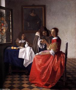 Jan Vermeer - A Lady and Two Gentlemen