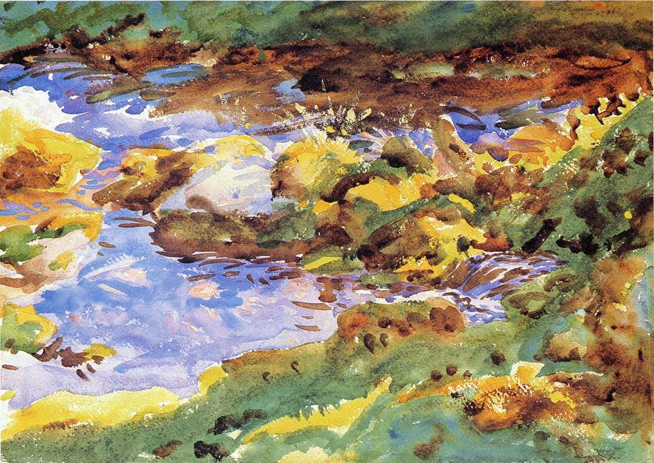 famous painting The Alps Val D'Aosta, Purtud of John Singer Sargent