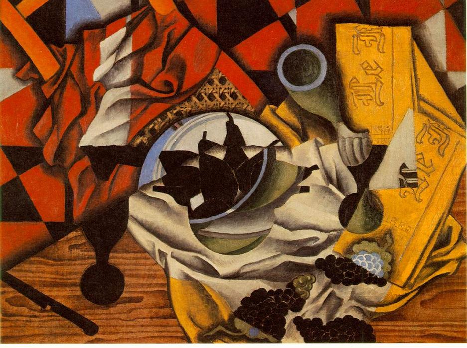 famous painting Pears and grapes on a table of Juan Gris