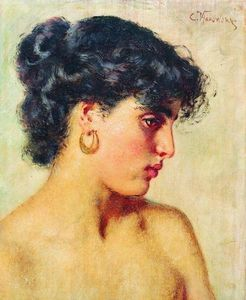 Konstantin Yegorovich Makovsky - Portrait of dark-haired beauty