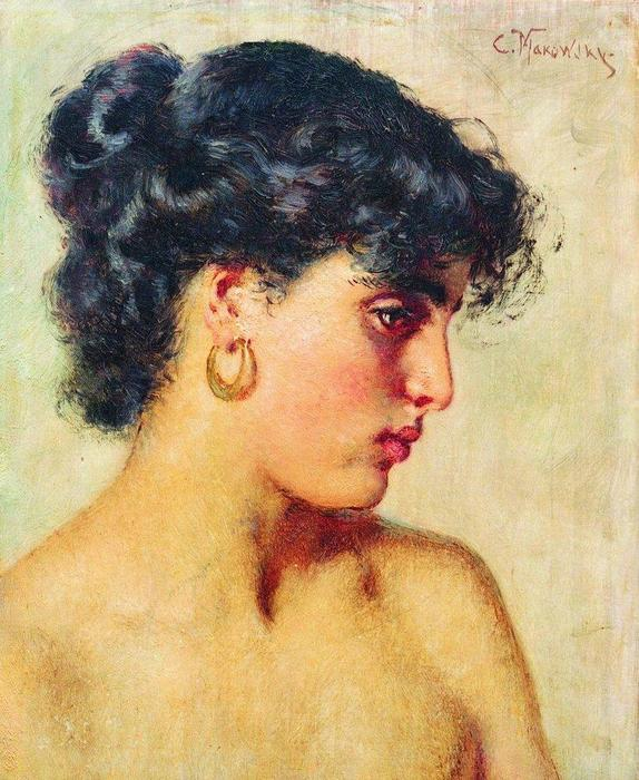 famous painting Portrait of dark-haired beauty of Konstantin Yegorovich Makovsky