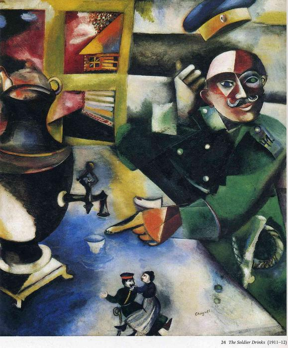 | The Soldier Drinks by Marc Chagall | Most-Famous-Paintings.com