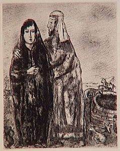 Marc Chagall - Meeting of Jacob and Rachel at the well (Genesis XXIX, 7, 10)