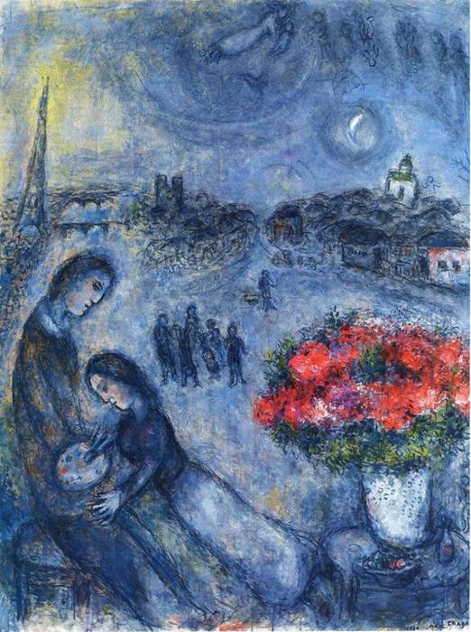 famous painting Newlyweds with Paris in the Background of Marc Chagall