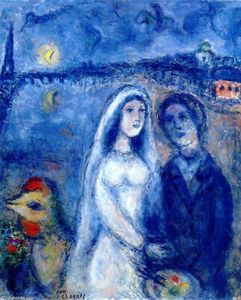 Marc Chagall - Newlywedds with Eiffel Towel in the Background