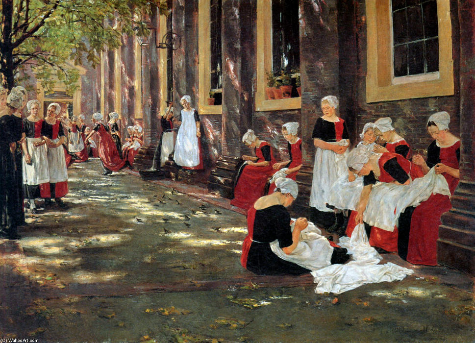 Buy Museum Art Reproductions | Free hour at Amsterdam orphanage by Max Liebermann | Most-Famous-Paintings.com