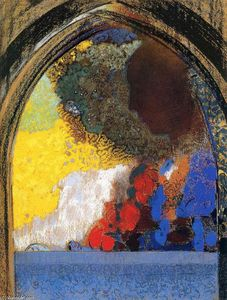 Odilon Redon - Woman In Profile Under A Gothic Arch