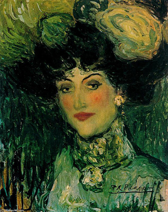 Famous Painting Woman With Feathered Hat Of Pablo Picasso