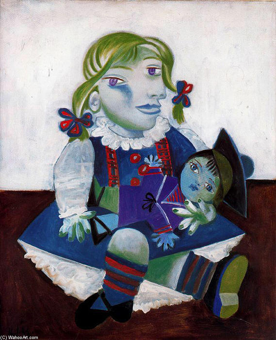 | Portrait of Maya with her doll by Pablo Picasso | Most-Famous-Paintings.com