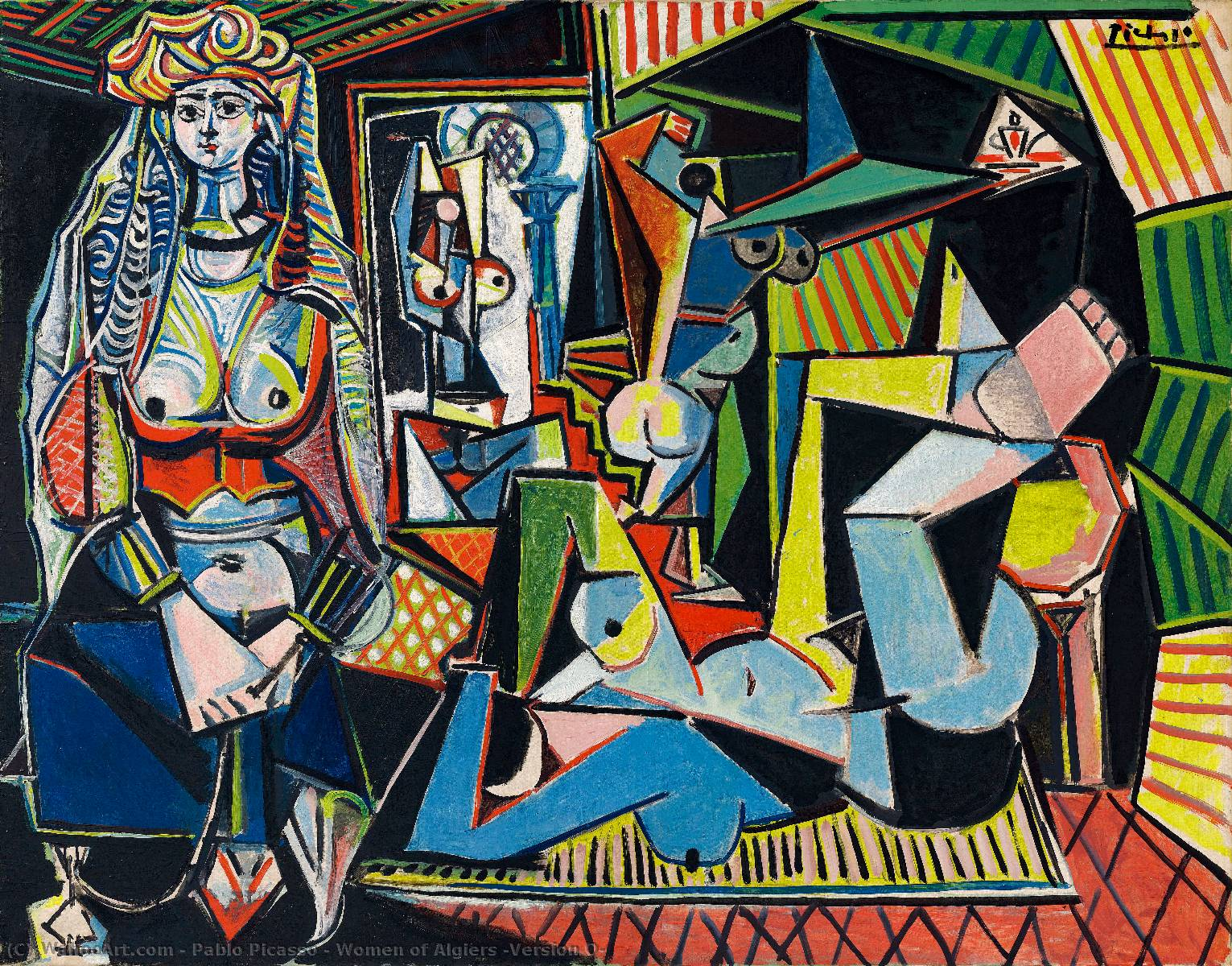 | Women of Algiers (Version O) by Pablo Picasso | Most-Famous-Paintings.com