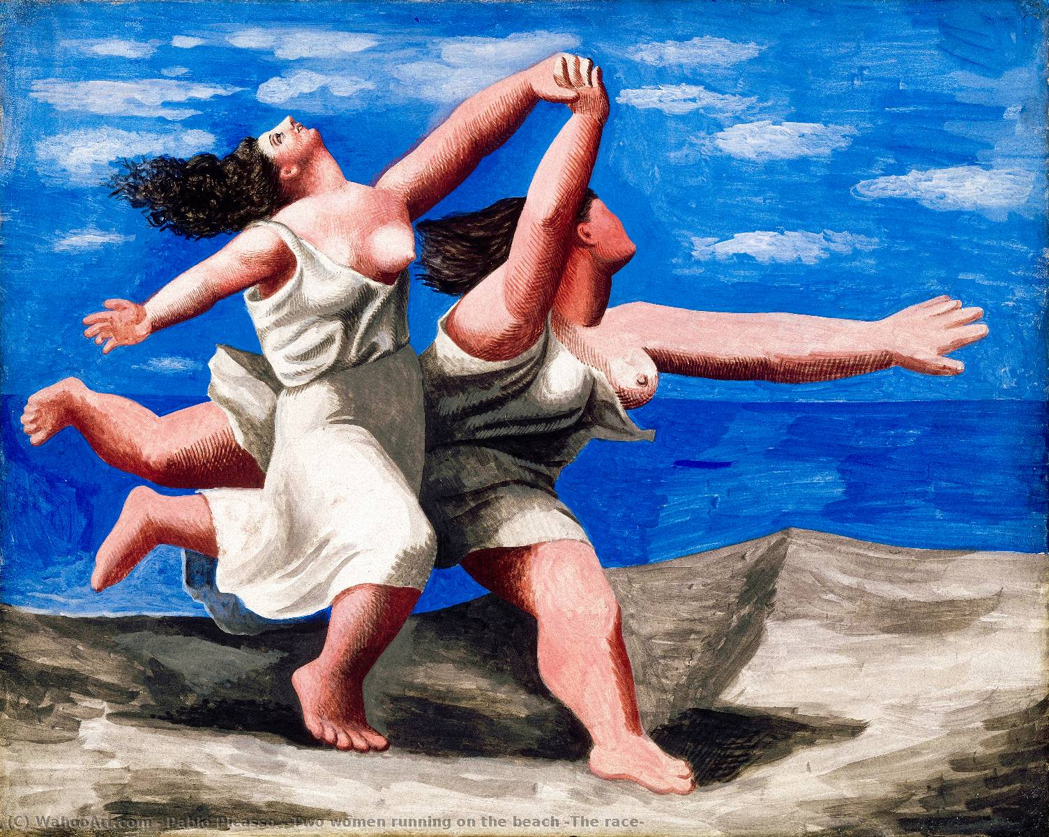 | Two women running on the beach (The race) by Pablo Picasso | Most-Famous-Paintings.com