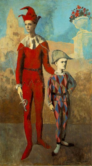 famous painting Acrobat and young harlequin of Pablo Picasso