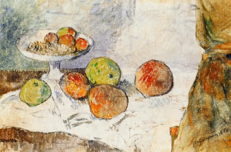 famous painting Still life with fruit plate of Paul Gauguin