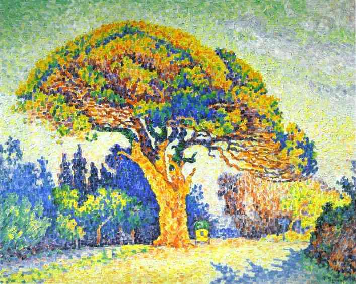 famous painting The Pine Tree at St. Tropez of Paul Signac